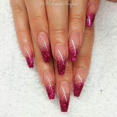 Сute designs for your ballerina-shaped nails ★ Show more: naildesigns . - Сute designs for your ballerina-shaped nails ★ Show more: naildesigns … # show # ballerina-sha - Red Ombre Nails, Red Acrylic Nails, Acrylic Nail Designs, Pink Glitter Nails, Clear Nails With Glitter, Glitter French Nails, Peach Nails, Brown Nails, Purple Nails
