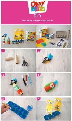 Déco pirate avec une boîte d'oeufs et un rouleau d'essuie-tout  #okayzine #diy #enfant #anniversaire #pirate #activitemanuelle #rouleau
