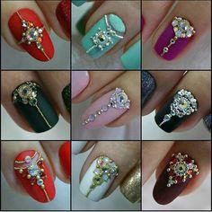 Jeweled bridal nail designs