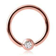Rose Gold Jewelled Ball Closure Ring - Crystal- Buy Jewellery ($4.65)