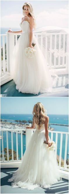 Strapless wedding dress, silk belt, tulle skirt, California bride, beach wedding fashion, white wedding bouquet // Vitaly M Photography
