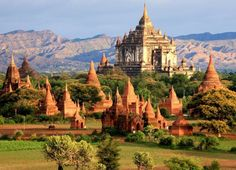 """Myanmar, Burma - Travel back in time to be amazed by the sublime beauty of Bagan's ancient kingdom. Home to a sea of thousands of pagodas, the plains of Bagan -- the size of Manhattan -- is a """"must-see"""" on any adventure to Myanmar. For an unparalleled view of Bagan, float on a hot air balloon at sunrise to truly appreciate the scale of this ancient realm. Book your trip today by calling a Maupintour agent at 877-874-8886."""