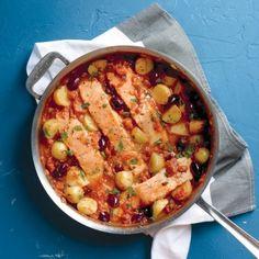 salmon & potatoes in tomato sauce... weeknight dinner