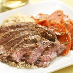 Here we pair harissa-rubbed grilled steak with tangy North African-spiced carrots. Serve with whole-wheat couscous. Carrot Salad Recipes, Roasted Potato Recipes, Roasted Potatoes, Grilling Recipes, Beef Recipes, Cooking Recipes, Healthy Recipes, Cooking Games, Diabetic Recipes