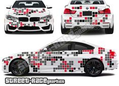 Digital camouflage graphics Digital Camouflage part wrap printed graphics, to suit all medium to large sized cars. This kit is shown on a BMW but will fit all similar-sized cars. Car Stickers, Car Decals, Digital Camo, Bmw M4, Small Cars, Car Wrap, Camo Print, Print And Cut, Camouflage