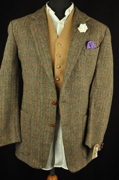 "Vtg Harris Tweed Checked Country Tailored Hacking Jacket 42"" #352 STUNNING 