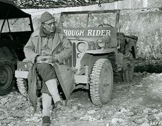 """Brigadier General Theodore Roosevelt, Jr. and his """"Rough Rider"""" Jeep in Italy/1944"""