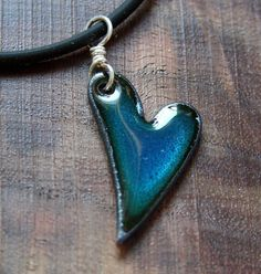 Necklace Heart Love Necklace Blue Heart Pendant Heart by Steinvika, $24.00