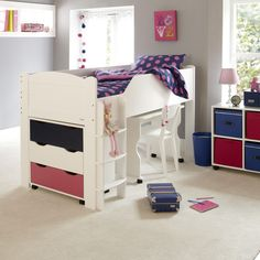 Our rooms are rarely just for sleeping, so why would our chlidren's be any different?The Juicy Fruit Mid Sleeper has a hugely useful expanse of space below its sleeping platform with a full size adult bed accessed by a fixed wide tread ladder - avaiable in either left or right hand side options (please remember to specify when ordering). Made from solid hardwood and composite panels and finished in classic white for a real blank canvas to sit happily in any space. The mattress for the b...