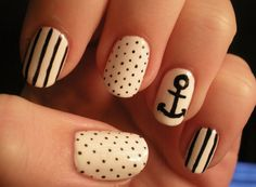 I like the Nautical Nails--I would just do the dots and use my vinyl anchor nail art stickers on the ring fingers.