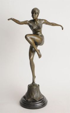 "Art Deco Bronze Sculpture ""Con Brio"" (Dancing Girl) After F. Preiss on Etsy, $350.00"