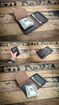 Horween Chromexcel Money Clip Wallet, Mens Leather Money Clip Wallet, Mens Leather Bifold Wallet