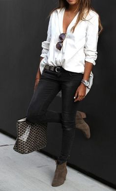 Black skinnies + relaxed blouses.