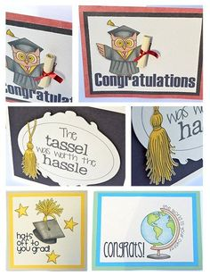 Graduation cards created using digital scrapbooking supplies / clip art from Kate Hadfield Designs!