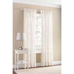 Mainstays Marjorie Sheer Voile Curtain Panel Image 1 of 2 Short Curtains, Voile Curtains, Sheer Curtain Panels, Window Panels, Window Curtains, Brown Curtains, Decorative Curtain Rods, Thing 1, Curtain Patterns