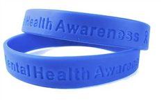 "Mental Health Awareness Blue Rubber Bracelet Wristband - Adult 8"""