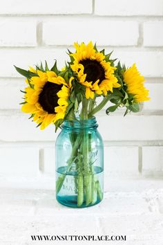 Sunflowers in Ball Jar   Photo by Ann Drake   On Sutton Place