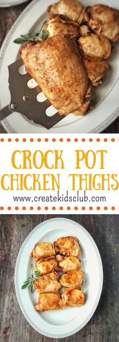 This simple dinner recipe cooks in your crockpot or slow cooker while your gone. With few ingredients and spices of your choice, these chicken thighs are a recipe even the pickiest of eaters will like (Ingredients Dinner Crock Pot) Crock Pot Slow Cooker, Crock Pot Cooking, Slow Cooker Recipes, Crockpot Recipes, Cooking Recipes, Healthy Recipes, Pan Cooking, Crock Pots, Crockpot Dishes