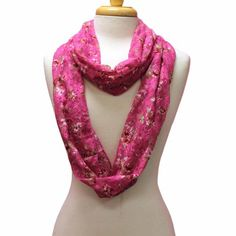 25% Off was $24.00, now is $17.99! Pink Feminine Lace Infinity Ring Scarf With Flower Print