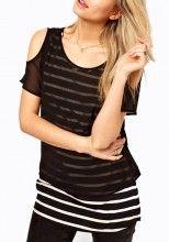 Multicolor Striped Split Sleeve Chiffon T-Shirt