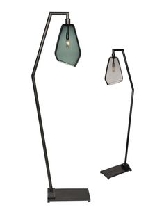 Muse Floor Lamp - Contemporary, Industrial, Mid-Century / Modern, Transitional Glass, Metal Floor by Zia Priven
