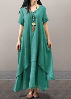 Plus Size Casual Short Sleeve V Neck Solid Maxi Dress Plus Size Casual Short Sleeve V Neck Solid Maxi Dress – linenwe summer linen outfits linen baby Summer Dress Outfits, Casual Dresses, Modest Maxi Dress, Maxi Dresses, Linen Dresses, Fashion Dresses, Estilo Fashion, Mode Hijab, Short Sleeve Dresses