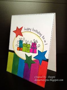 I LOVE the bright colors and packages on this handmade birthday card