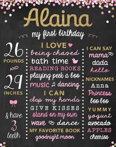 Chalkboard Birthday Sign Glitter First Birthday by ChalkType