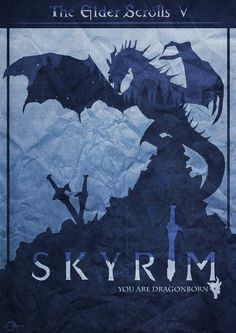 Skyrim poster, you are dragonborn. This is problably one of the best games i ever played in a while, it was really hyped prior to its release and with r. You are DragonBorn - Skyrim Poster Dragonborn Skyrim, Arrow To The Knee, Best Pc Games, Elder Scrolls Skyrim, Vampire Hunter, Game Logo, Moon Art, Game Design, Digital Illustration