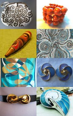 """Spiral Notebook--100% Epsteam Treasury"" Curated by Wendy Sacks @    http://www.etsy.com/shop/VdeB    Featuring my  Natural nautilus shell/ 925 silver focal bead (item number 7174)  @ https://www.etsy.com/listing/108019213/natural-nautilus-shell-925-silver-focal?ref=tre-2721817089-8"