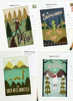 Monster Postcards by Quill & Fox