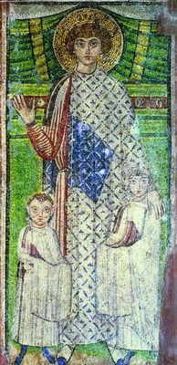 Demetrios with donors Mosaic - Church of St Demetrios in Thessaloniki - Byzantine med cent. St Demetrios with children: one of very few Byzantine mosaics that escaped destruction from the hands of the iconoclasts. Byzantine Art, Byzantine Mosaics, Fresco, Ancient Greek City, Early Middle Ages, Orthodox Icons, Thessaloniki, Medieval Art, Tempera