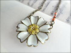 Daisy Chain Necklace On Antique Brass Chain with by Kitschish, $25.00