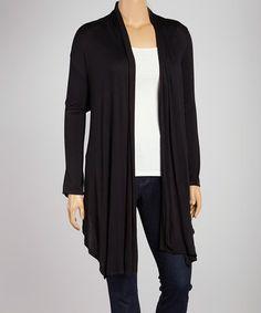 Look what I found on #zulily! Black Drape Open Cardigan - Plus #zulilyfinds