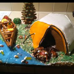 Gingerbread camp-site. Complete with Halfdome tent and canoe.