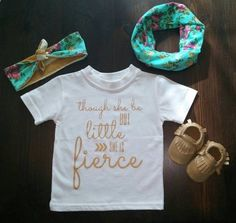 Though She Be But Little She Is Fierce Baby Shirt, Gold, Handmade, Tee, Toddler, Arrow, Saying, Clothing, Tribal, Love, Trendy Babies, Girls