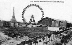 View on the Eiffel Tower, the Grande Roue and the Galerie des Machines, World's Fair of 1889 in Paris Paris 1900, Old Paris, Vintage Paris, Tour Eiffel, Paris Pictures, Expositions, Crystal Palace, World's Fair, Civil Engineering