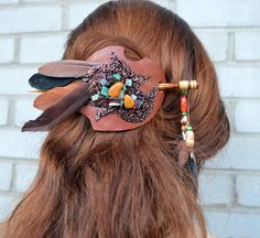 Barrette with Natural Stones and feathers, Leather Barrette - Barrette with Stick - Hair barrette