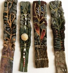 Wire Crafts, Jewelry Crafts, Jewelry Art, Handmade Jewelry, Textile Fiber Art, Textile Artists, Textile Jewelry, Fabric Jewelry, Fabric Art