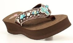 Bling Flip Flops Justin Carly Faux Turquoise Cross Stones Brown