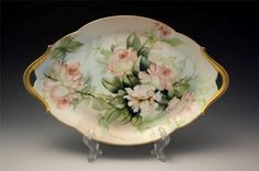 C1910 French T&V Limoges Hand Painted Handled Tray w/ Roses No Reserve #TressemanVogt