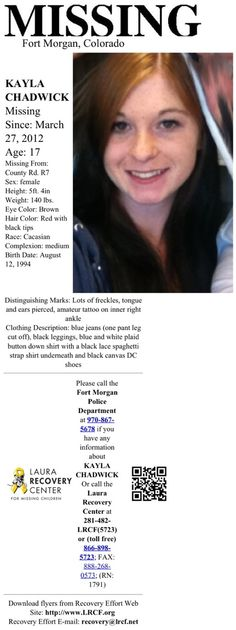 With sincere sadness we report that Kayla Chadwick was confirmed recovered deceased on 7/3/13.