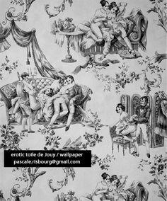 wallpaper EROTIC TOILE DE JOUY design: Pascale Risbourg