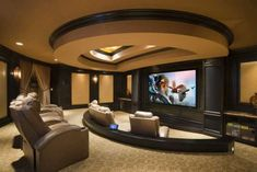 48 Elegant Home Theater Design Ideas - HOMEFULIES Theater Room Decor, Basement Movie Room, Home Theater Basement, Home Theater Rooms, Home Theater Setup, Home Theater Design, Home Theater Seating, Basement Ideas, Home Theater Projectors