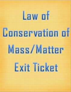 This is a four question assessment to see if students understand the Law of Conservation of Mass/Matter.