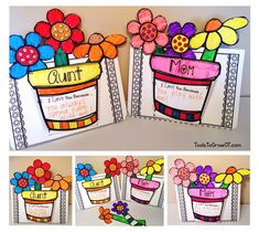 Mother's Day 3-D Flower Craft and Activity. Simply Print & Go!