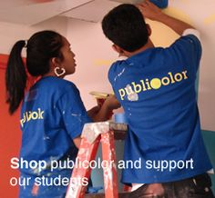 Publicolor's design-based programs and academic support engage at-risk youth in their education and combat the lack of job-preparedness that fuels poverty. Central to our mission is the beautification and revitalization of public and civic spaces through the affordable medium of paint and collaborations that engage the students and the community as a whole. Check them out, and volunteer!