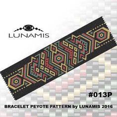 Peyote bracelet pattern, peyote pattern, stitch pattern, pdf file, pdf pattern, #013P de LunamisBeadsPatterns en Etsy https://www.etsy.com/es/listing/273101690/peyote-bracelet-pattern-peyote-pattern