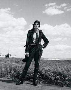 The sky's the limit with rich, timeless coats. Trench, $595, Banana Republic. bananarepublic.com. Shirt, $49.50, Gap. gap.com. Pants, $995, Moschino. 212-243-8600. Hat, $870, tie, $550, and boots, $1,925, Hermès.    Read more: Pilot Fashion - Aviator Fashion - Harper's BAZAAR