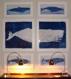 Framed whale prints